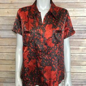 {bcbgmaxazria} patterned button down shirt